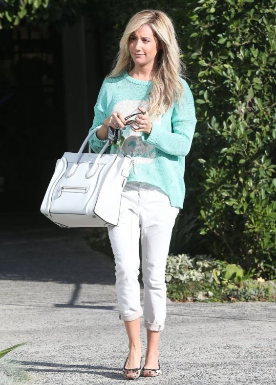 Ashley Tisdale wears pastel sweater
