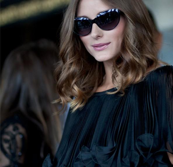 olivia palermo fashion week zebra print trimmed sunglasses