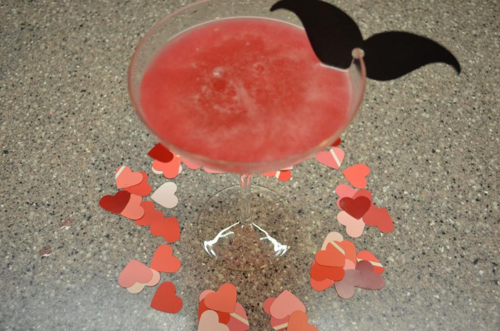 Valentines Day Ideas - Strawberry Martini decorated with Heart Confetti