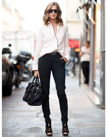 what to wear to fashion week Trouser pants blouse jet black sunglasses black bag