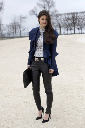 what to wear to fashion week leather pants blouse pumps clutch jacket