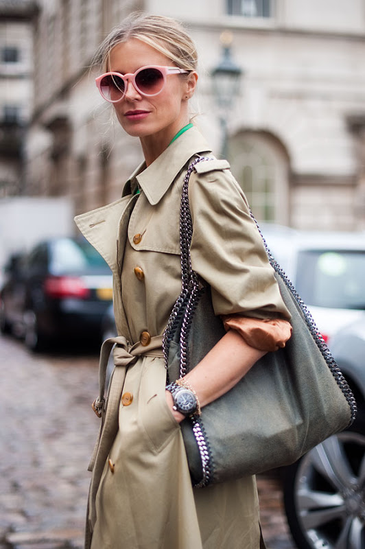 what to wear to fashion week pastel retro round sunglasses trench coat stella mccartney falabella bag