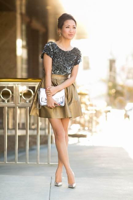 Wendy of Wendy's Lookbook wears metallic skirt with silver accessories for spring 2013