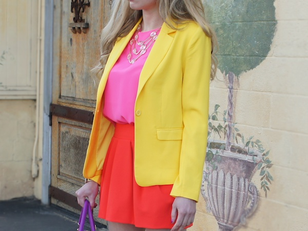 Orange color block spring Neiman Marcus yellow blazer