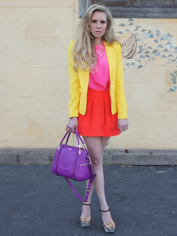 Orange color blocking spring Neiman Marcus yellow blazer CUSP Spring Event