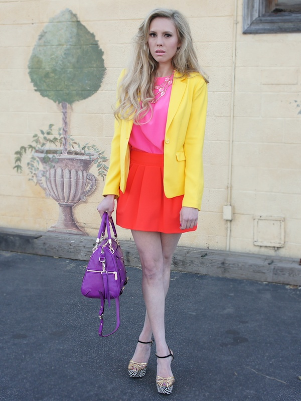 Orange color blocking spring Neiman Marcus CUSP fashion blog colorblock rebecca minkoff bag