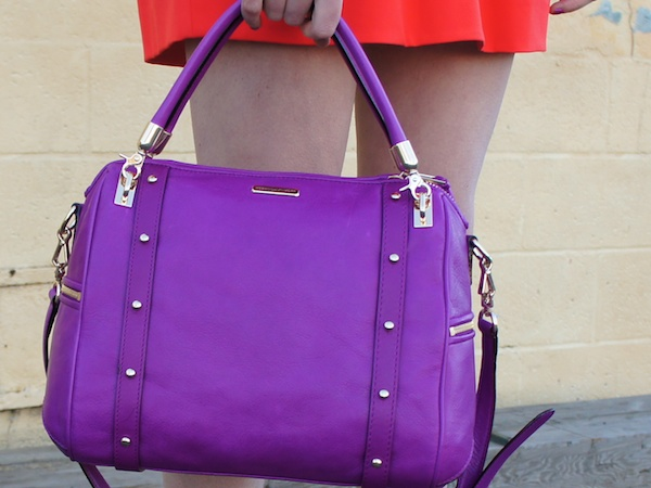 Orange color block spring Neiman Marcus CUSP fashion blog colorblock rebecca minkoff purple cupid bag