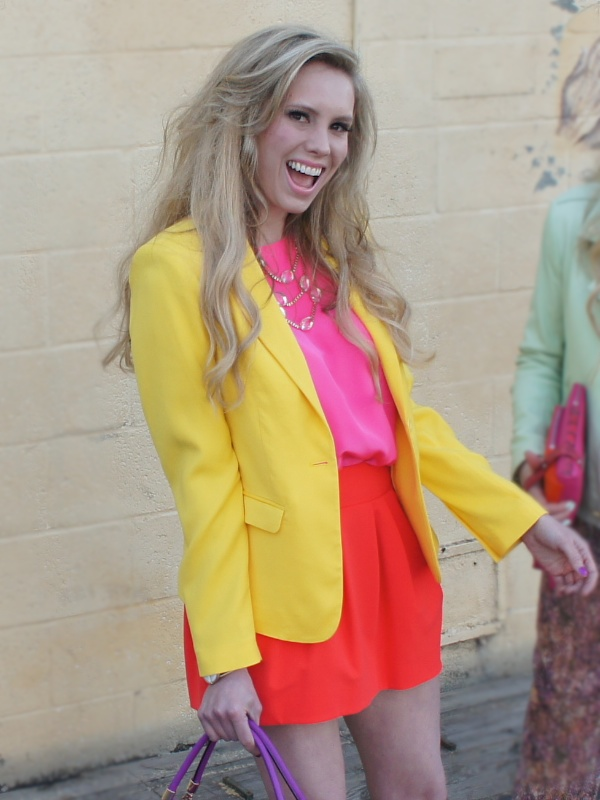Orange color blocking spring Neiman Marcus CUSP fashion blog colorblock fashion blog
