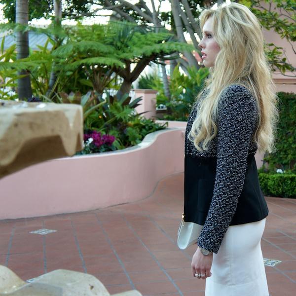 a white dress for brunch escada tweed jacket dvf lips clutch