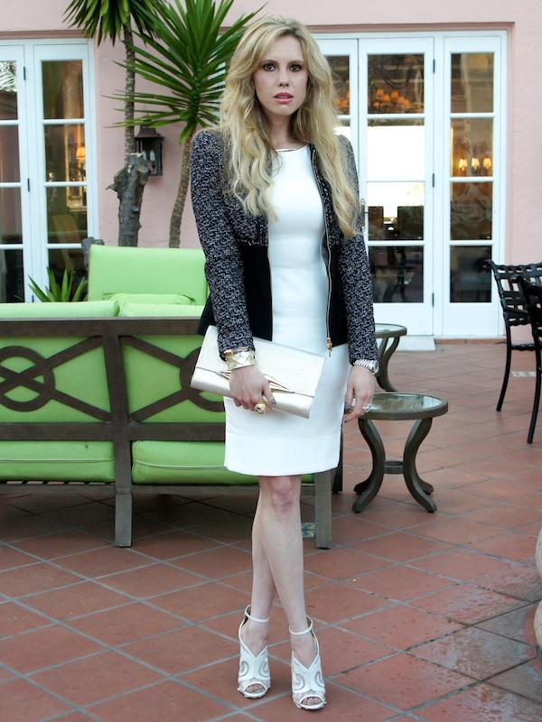 a white dress for brunch escada tweed jacket