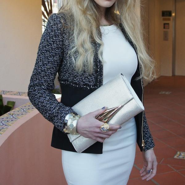a white dress for brunch escada tweed jacket  B Brian atwood