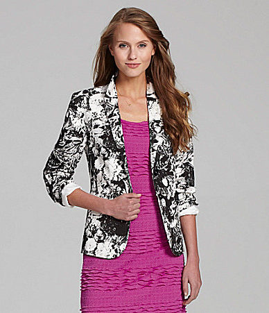 Chelsea and Violet floral black and white blazer miranda kerr