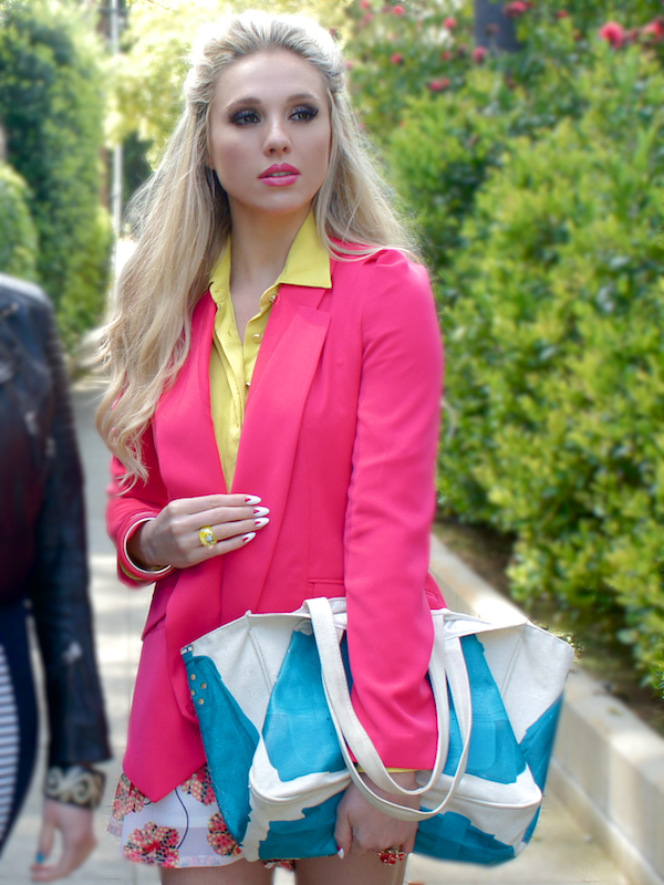 colored blazer with patterned shorts spring 2013  shoptiques