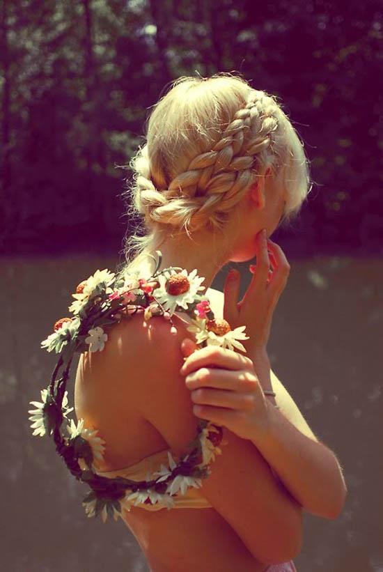 flower crown with milkmaid braid coachella hair