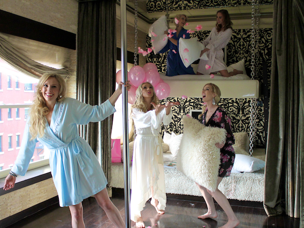 Classy bachelorette party ideas - Pillow Fight At Andaz Hotel San Diego Rockstar Suite