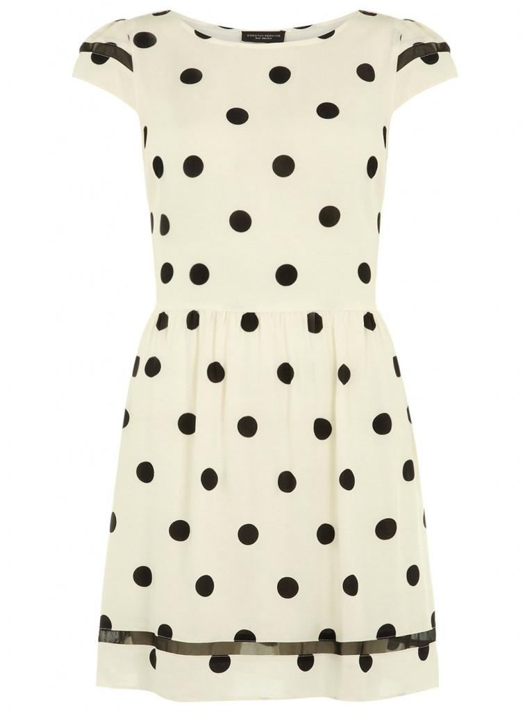 Dorothy Perkins Black and Ivory Polka Dot Skater Dress