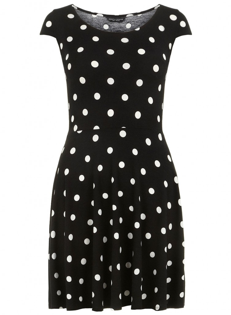 Dorothy Perkins Black and white polka dot skater dress