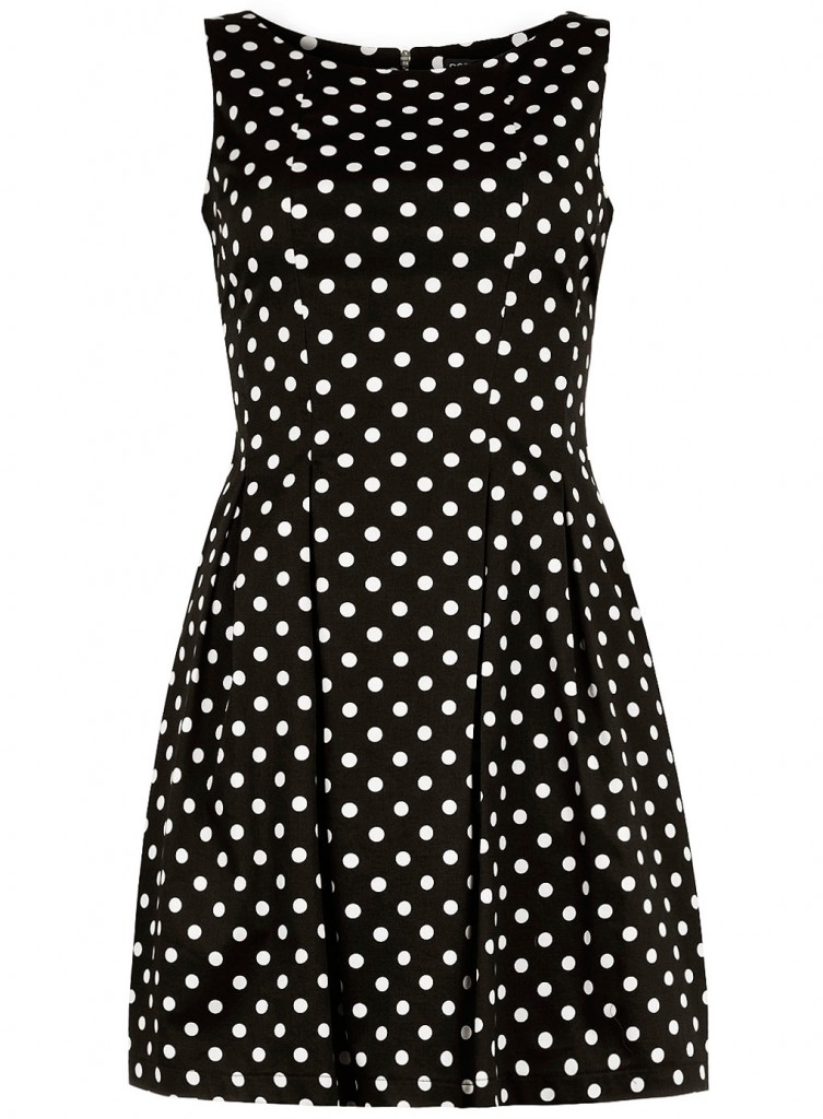 Dorothy Perkins Black and white spot lantern dress