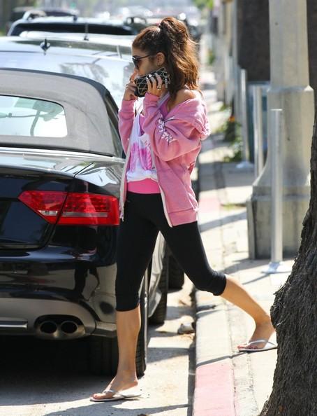 Vanessa Hudgens wearing flip flops after pilates summer 2013