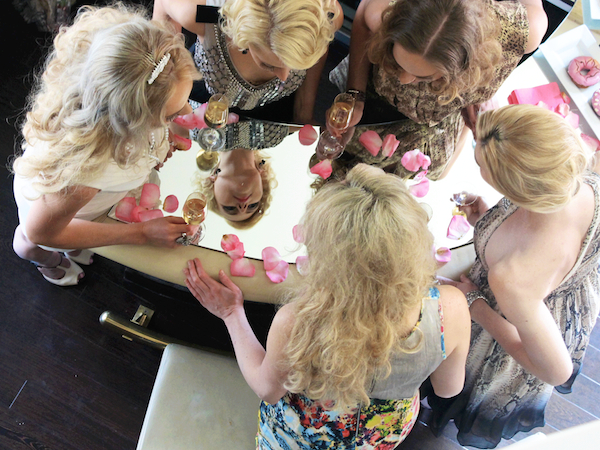 bachelorette party ideas - champagne toast at Andaz Rockstar suite san diego 4