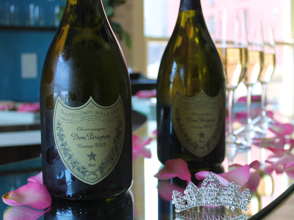 bachelorette party ideas - dom perignon champagne and rose petals Andaz san diego 2