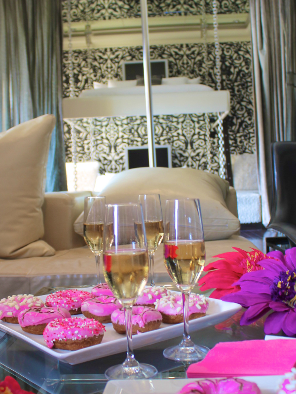 bachelorette party ideas - pink donuts from Donut Bar san diego Andaz Rockstar Suite