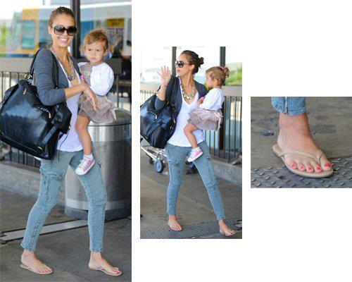 643e510e7014ec Jessica Alba wears Tkees flip flops with skinny jeans. Ashley Madekwe  wearing leather buckle sandals summer 2013