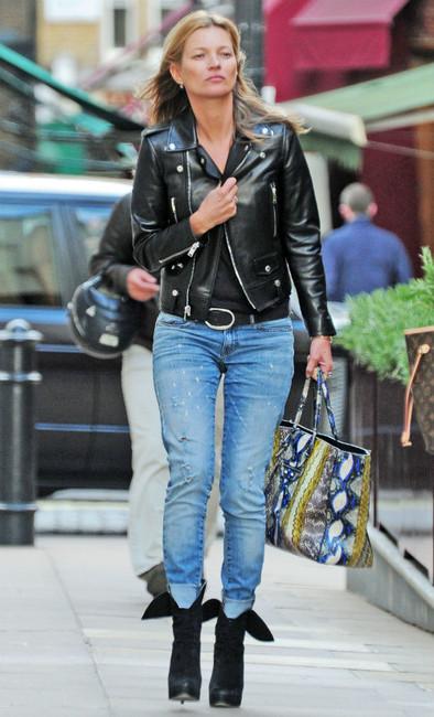 kate moss leather jacket alaia boots blaenciaga bag