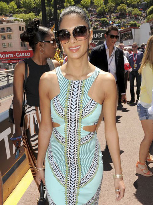 Nicole Scherzinger Wears Cutouts To Monaco Grand Prix Racetrack