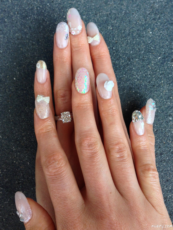 Pretty Bridal Nails With 3d Nail Art And White Rose For My Wedding