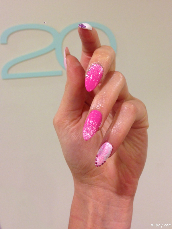 Bachelorette Party Stiletto Nails With Glitter And Diamond Nail Art |