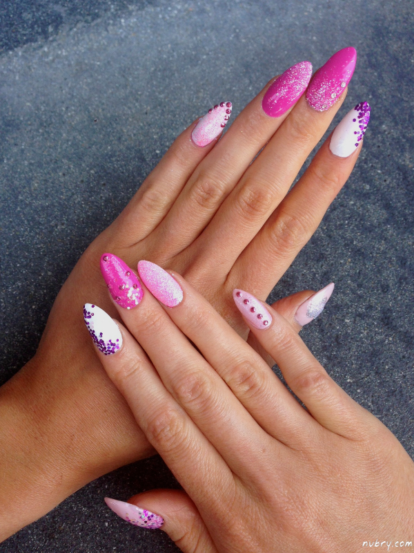 Bachelorette Party Stiletto Nails With Glitter And Diamond Nail Art