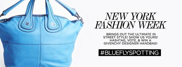 bluefly fly spotting at NYFW contest
