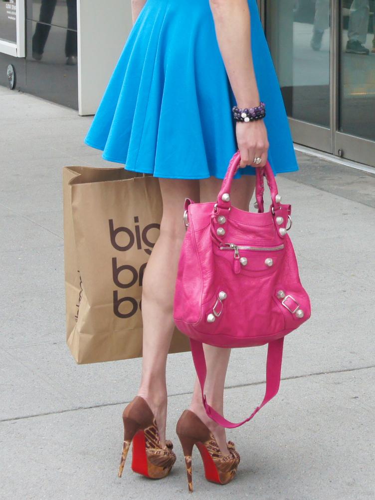 balenciaga pink velo bag louboutin shoes nyfw