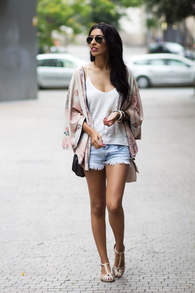 kimono and High Waisted Denim Shorts