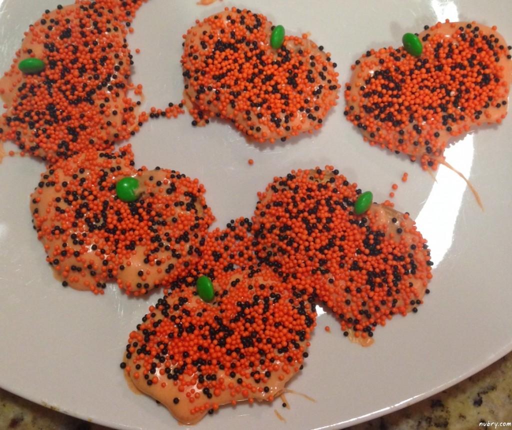 Pumpkin Shaped Pretzel Crisp Cookies
