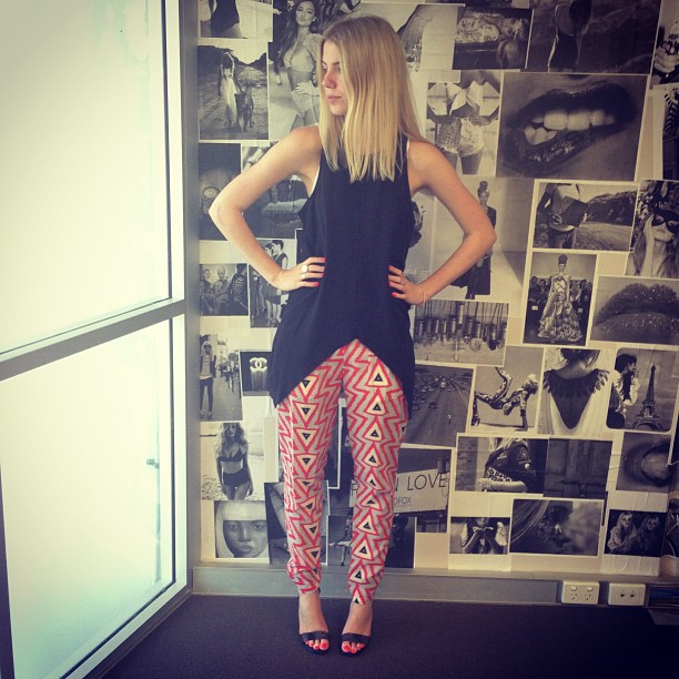 printed pants and stilettos