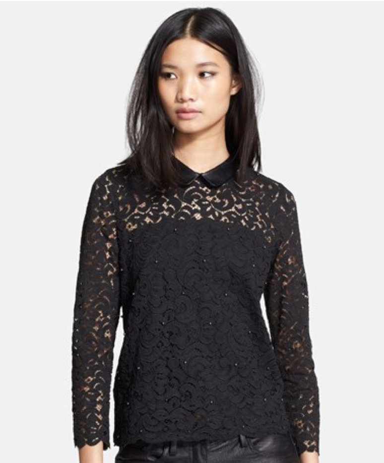 peter pan collar lace blouse - holiday dresses