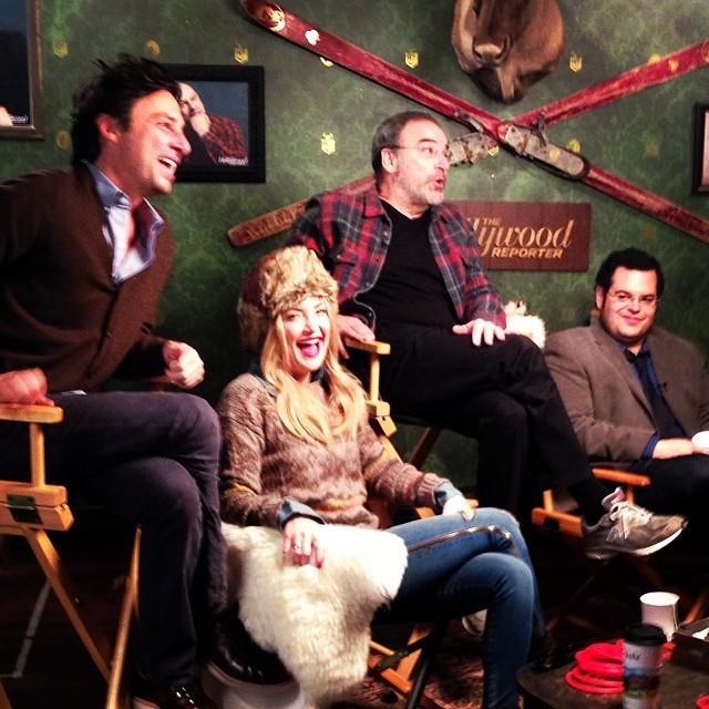 Kate Hudson Sundance winter sweater zipper jeans