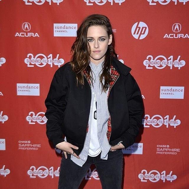 Kristen Stewart sundance red plaid bomber jacket