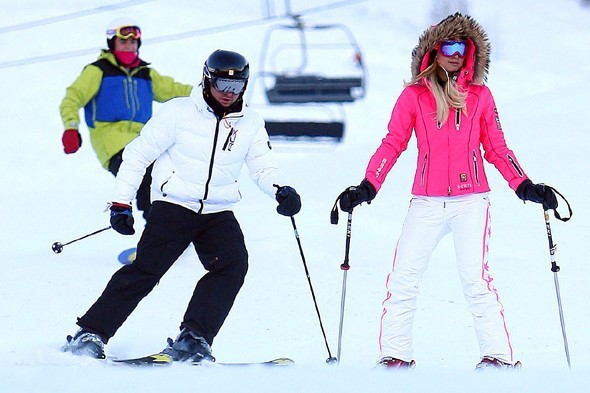 Paris Hilton in more snow bunny style in 2012 wearing Jet Set star pants