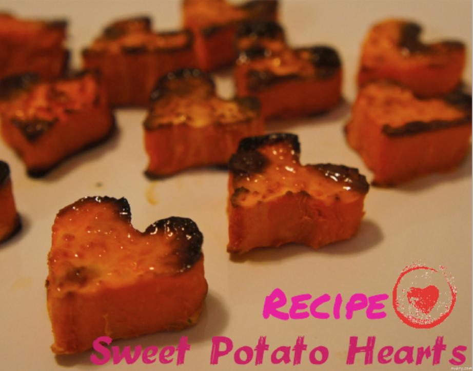 Healthy Valentine treats - Baked Sweet Potato Hearts