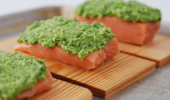 san diego cooking class - spring ingredients - salmon with basil pesto