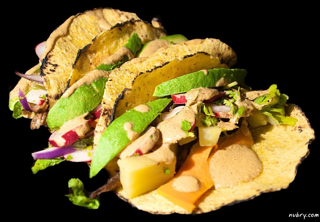 vegetarian tacos with chipotle sauce - gluten free - vegan recipe