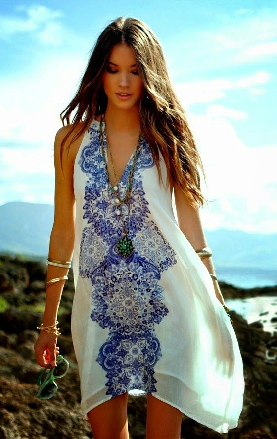 blue and white printed dress - memorial day weekend outfit ideas 2014