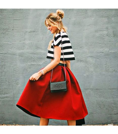 red poof skirt with tee - memorial day weekend outfit ideas 2014