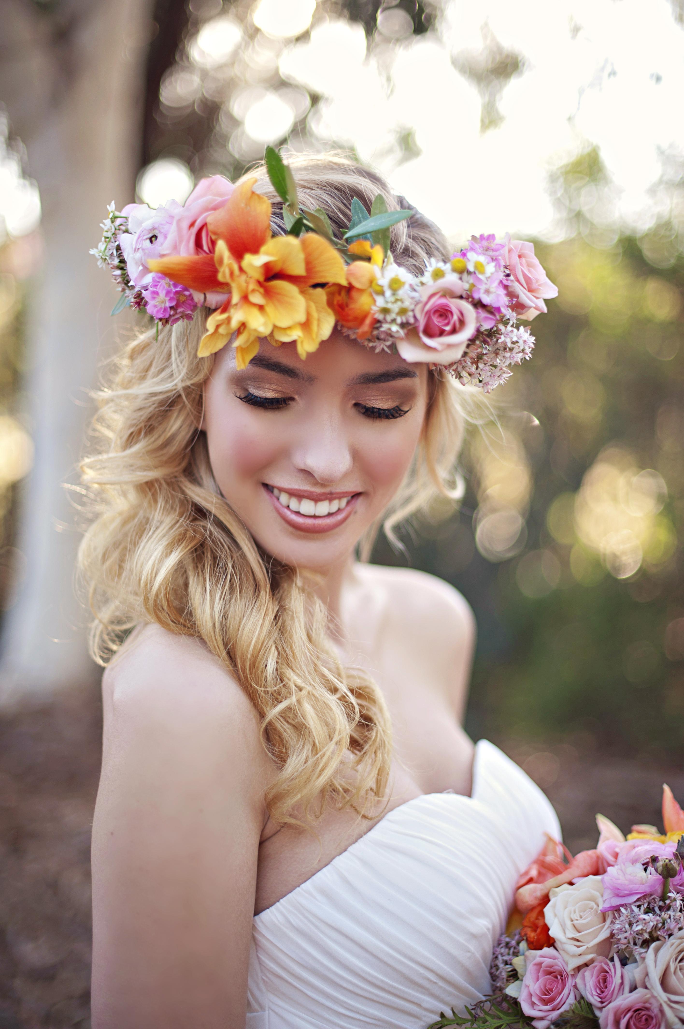 wedding flower ideas - flower crown for bride