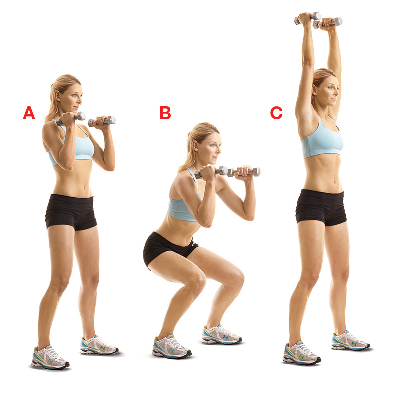 Thruster - squat to overhead press with dumbells - female exercise