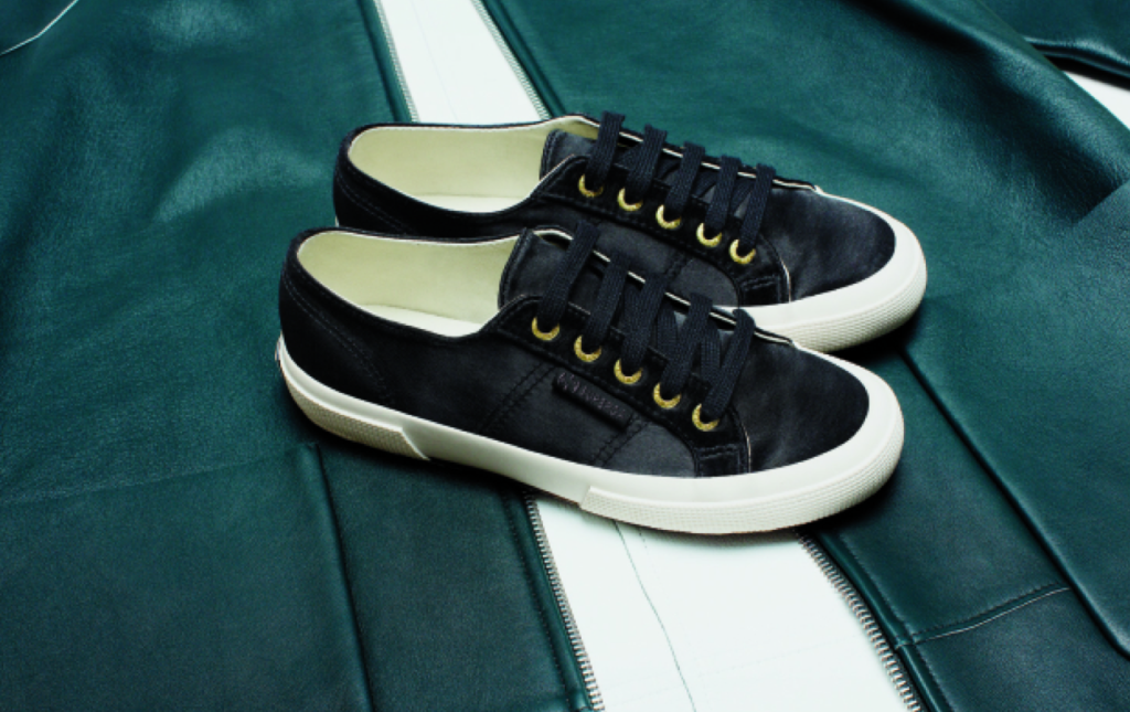 man repeller x superga sneaker collection in black satin - hot new shoes