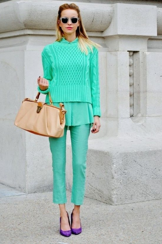 new york fashion week style rules - mint monochromatic outfit